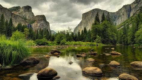 Nature River Rock Mountain Wallpapers Hd Desktop And