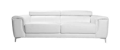 canapé cuir design trois places avec têtières relax blanc
