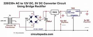 220  230v Ac To 12v  5v Dc Regulated Power Dc Converter Bridge Rectifier