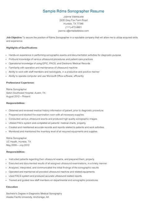 Diagnostic Sonographer Resume by Resume Sles Sle Rdms Sonographer Resume