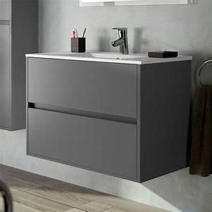 meuble salle de bain 80 cm 2 tiroirs plan vasque With meuble salle de bain mat