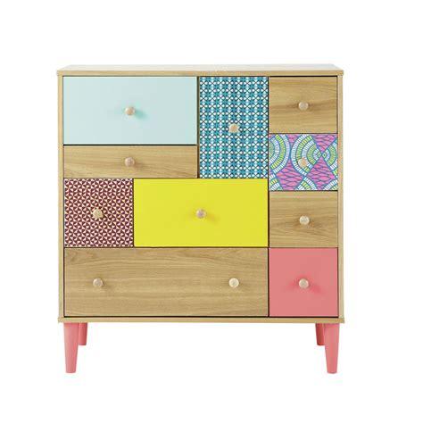 maison du monde rangement cabinet de rangement imprim 233 en bois multicolore l 84 cm bamako maisons du monde