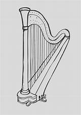 Harp Coloring Drawing Pages Printable Stings Dancing sketch template