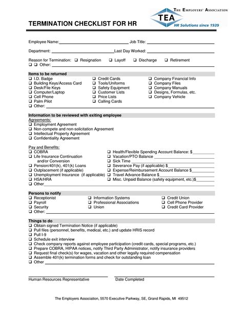 termination checklist template excel
