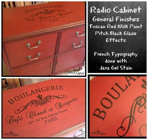 repurposed radio cabinet general finishes tuscan red milk paint  pitch black glaze effects