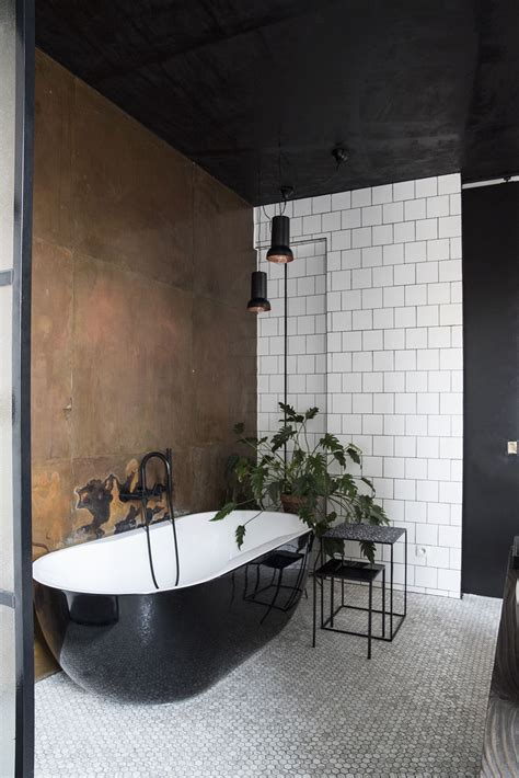black  white bathroom  copper wall plants