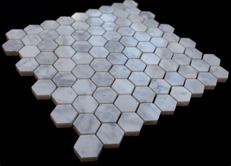 "Italian White Carrara 1"" Hexagon Tumbled Mosaic Tile"