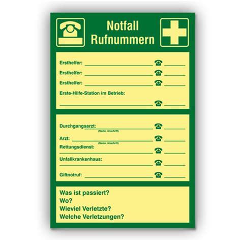 sicherheitsaushaenge notfall rufnummernplan