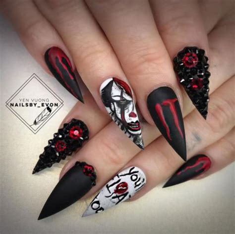 scary halloween creepy clown nails art designs ideas