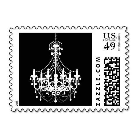 Simple Black White Chandelier Invitation Postage   Zazzle ...