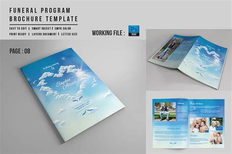 Booklet Template 8 Page Funeral Booklet Template V527 Brochure Templates