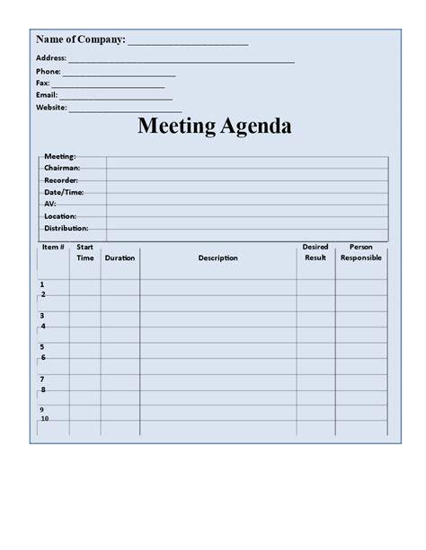 blank agenda format templates  allbusinesstemplatescom