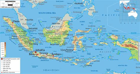 physical map  indonesia ezilon maps