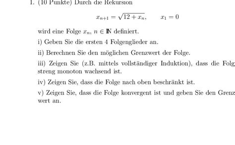 wie kann ich den grenzwert berechnen rekursiv definierte