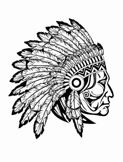 Indian Chief Native Profile Coloring Adult Drawing