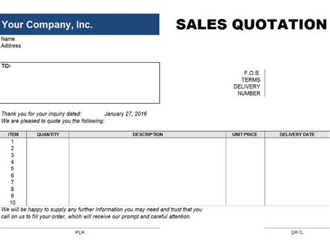 Quote Template Free Price Quote Template For Excel Free Price Quote Templates Invoiceberry