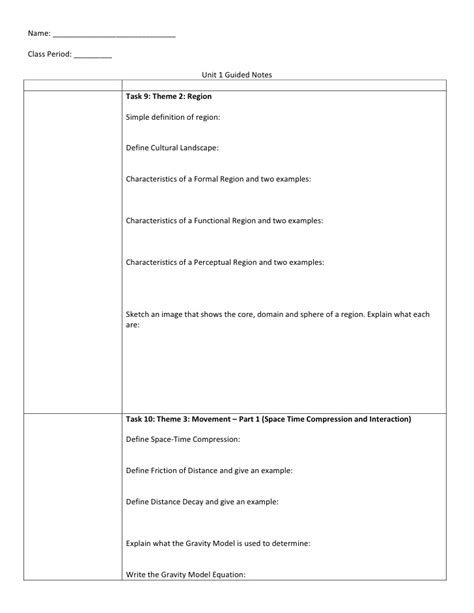 guided notes ap human geography unit 1 introduction to geography guided notes