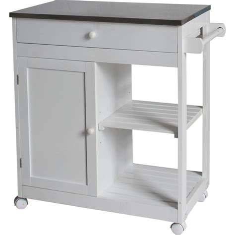 Mdf Kitchen Island Trolley With Stainless Steel Top  Buy