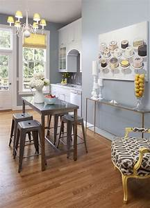 console table as kitchen island design ideas With kitchen colors with white cabinets with yellow metal wall art