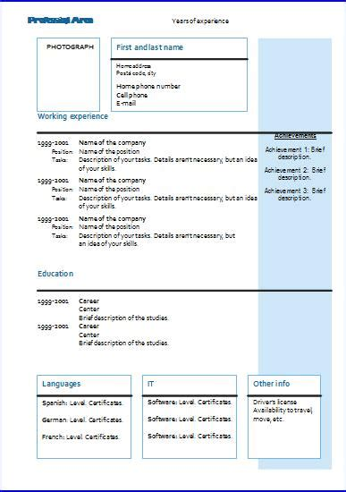 cv templates chronological  resume templates