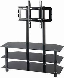 Meuble Tv Ecran Plat : meuble tv avec vesa et triple tablette en verre noir meuble tv ~ Teatrodelosmanantiales.com Idées de Décoration