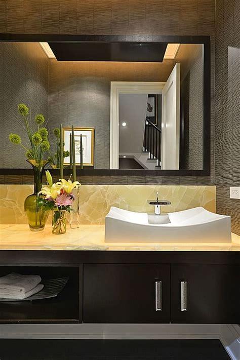 contemporary powder room onyx countertop raised white