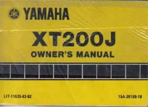 1982 Yamaha Xt200j Owners Manual