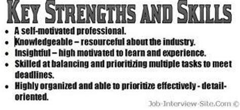 resume strengths examples key strengthsskills   resume