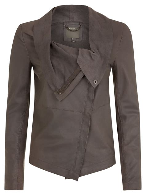draped leather jacket muubaa bovaye grey drape leather jacket