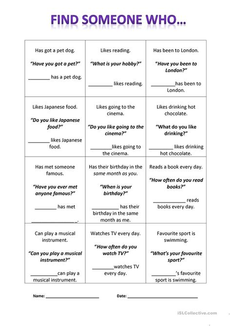 Find Someone Who Worksheet  Free Esl Printable Worksheets Made By Teachers