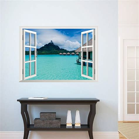stickers muraux imitation sea view wall decal sticker 3d window view wall mural decor home decoration wall