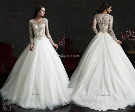 Amelia Sposa Long Sleeve V-neck 2015 Wedding Dresses