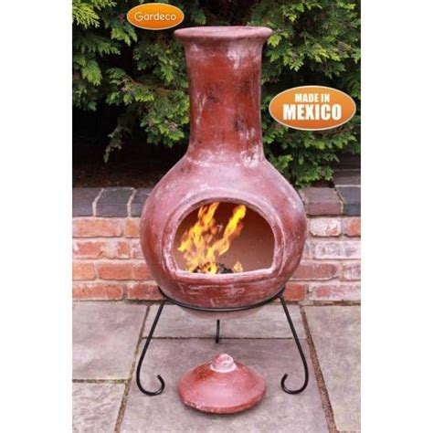 Clay Chiminea by Gardeco Colima Mexican Clay Chiminea Steel Stand Large