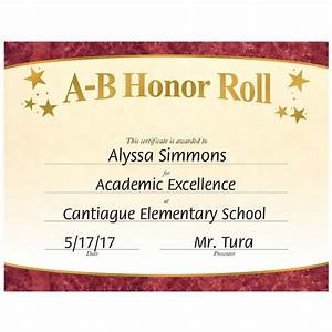 a b honor roll gold foil stamped certificates positive With a b honor roll certificate template