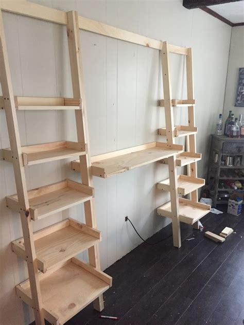 leaning ladder wall bookshelf ana white