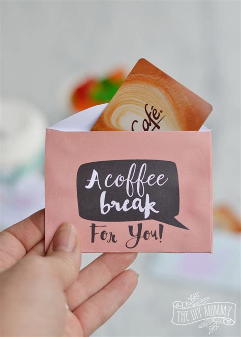 Hello everyone today i want to share this easy to make masculine thank you coffee card. Last Minute Teacher's Gift: Free Coffee and Tea Gift Card Holder Printables | The DIY Mommy