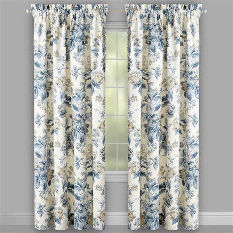 waverly 174 blue forever floral window curtains set of 2