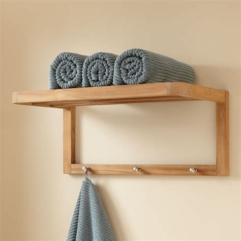 Bathroom Shelf With Towel Bar Wood by Pathein Bamboo Towel Rack With Hooks Pathein