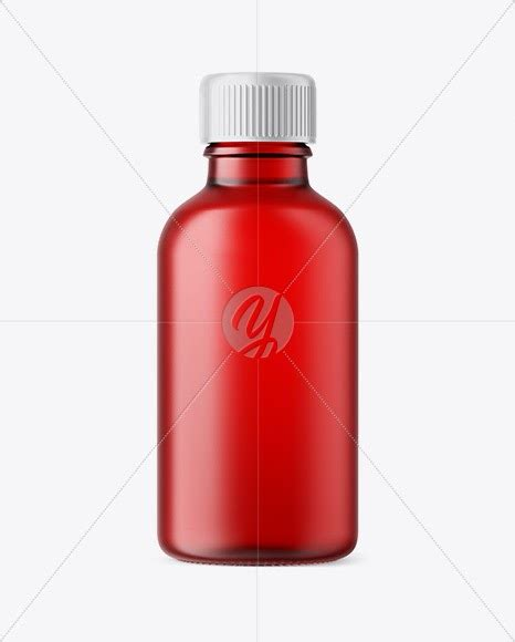 Clear glass white rum bottle mockup. Download 50ml Frosted Red Glass Сosmetic Bottle PSD