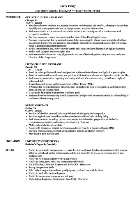 nurse assistant resume samples velvet jobs