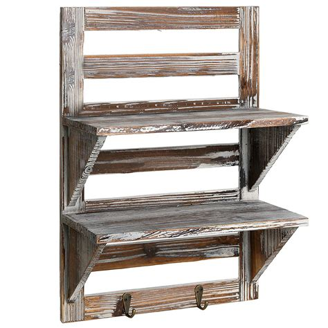 rustic wall shelf mygift rustic wood wall mounted organizer shelves best