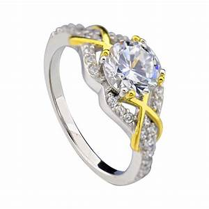 sterling silver two tone round cz xox women jewelry With two tone wedding rings for women