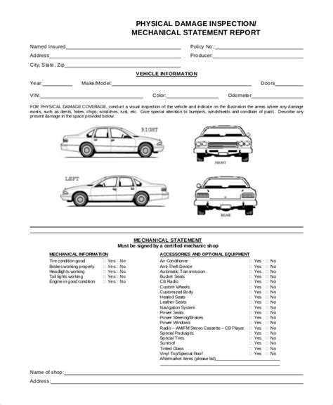 vehicle inspection form template 8 vehicle inspection forms pdf word sle templates
