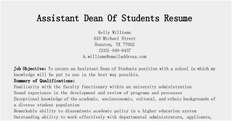 resume sles assistant dean of students resume sle