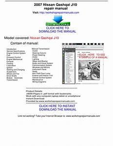 Nissan Qashqai J10 2007 Repair Manual By Repairmanuals