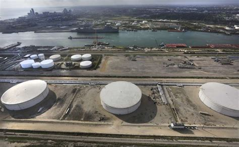 Crude Oil Storage Tanks At Nustar Energy Terminal At The