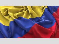 Bandera de Colombia Foto de estudio Ruffled