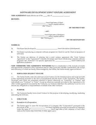 usa software development partnership agreement legal