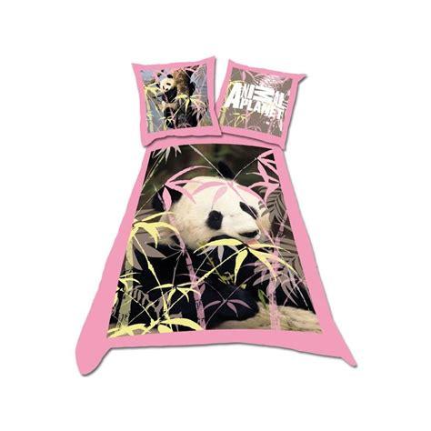 parure housse de couette animal planet et taie animal planet panda 100 coton dessin plac 233