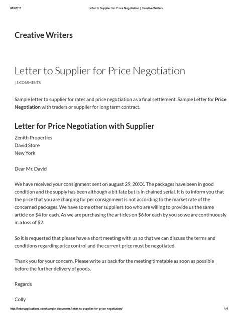 letter  supplier  price negotiation creative